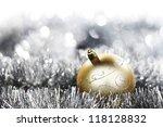 golden christmas ball on... | Shutterstock . vector #118128832