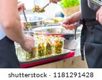 homemade salad in glass jar and ... | Shutterstock . vector #1181291428