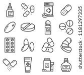 pills and capsules icons set.... | Shutterstock .eps vector #1181297335