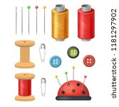 realistic detailed 3d sewing... | Shutterstock .eps vector #1181297902