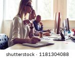 just working day. young modern...   Shutterstock . vector #1181304088