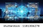 robotics arms with digital... | Shutterstock . vector #1181306278
