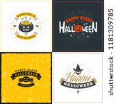 set of happy halloween greeting ... | Shutterstock .eps vector #1181309785