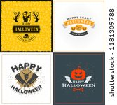 set of happy halloween greeting ... | Shutterstock .eps vector #1181309788