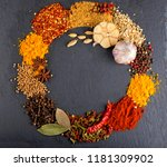 different kind of spices on a... | Shutterstock . vector #1181309902