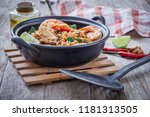 fried rice with spicy seafood ... | Shutterstock . vector #1181313505