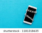 white smartphone with metal... | Shutterstock . vector #1181318635