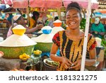 young african girl smiling in a ... | Shutterstock . vector #1181321275