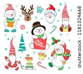 christmas set with snowman and... | Shutterstock .eps vector #1181324668