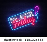 black friday sale neon sign... | Shutterstock .eps vector #1181326555