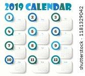 2019 modern calendar template ... | Shutterstock .eps vector #1181329042