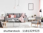 armchairs and tables in white... | Shutterstock . vector #1181329525