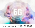 man is showing 6g network... | Shutterstock . vector #1181329882
