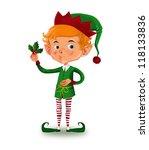 cute elf holding a mistletoe | Shutterstock . vector #118133836