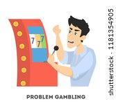 gambling addiction. angry man... | Shutterstock .eps vector #1181354905