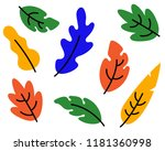 set of colorful autumn leaves... | Shutterstock .eps vector #1181360998