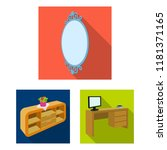 furniture and interior flat... | Shutterstock .eps vector #1181371165