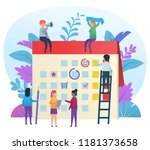 small cute people working and... | Shutterstock .eps vector #1181373658
