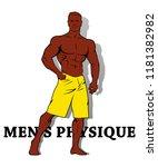 muscle man silhouette graffiti... | Shutterstock . vector #1181382982