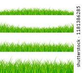 grass borders set. grass plant... | Shutterstock . vector #1181386285
