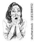 a girl in shocked emotion....   Shutterstock .eps vector #1181388952
