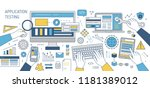 colorful banner with hands... | Shutterstock .eps vector #1181389012