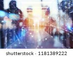 server farm with network... | Shutterstock . vector #1181389222