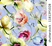 seamless pattern with orchid... | Shutterstock . vector #1181391028