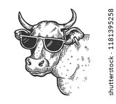 cow animal in sunglasses... | Shutterstock .eps vector #1181395258