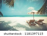 beautiful sunset beach scene.... | Shutterstock . vector #1181397115