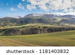 landscape with snow covered... | Shutterstock . vector #1181403832