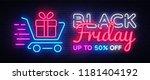 black friday sale neon text... | Shutterstock .eps vector #1181404192