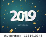 happy new year 2019 background. ... | Shutterstock .eps vector #1181410345