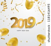 happy new year 2019. background ... | Shutterstock .eps vector #1181416495