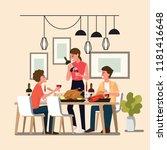 group people enjoying dinner... | Shutterstock .eps vector #1181416648