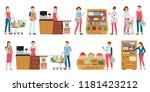 customer and cashier in... | Shutterstock .eps vector #1181423212