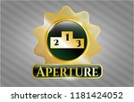 gold shiny badge with podium... | Shutterstock .eps vector #1181424052