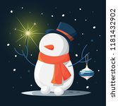 funny cute snowman character in ...   Shutterstock .eps vector #1181432902