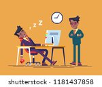 angry boss and office worker... | Shutterstock .eps vector #1181437858