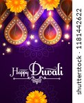 happy diwali. traditional... | Shutterstock .eps vector #1181442622