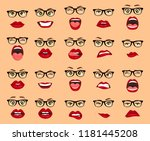 comic emotions. woman with... | Shutterstock .eps vector #1181445208