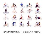 group of tiny people riding... | Shutterstock .eps vector #1181447092