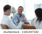 closeup.business team talking...   Shutterstock . vector #1181447182