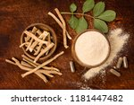 ashwagandha superfood powder... | Shutterstock . vector #1181447482