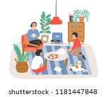 group of people or friends... | Shutterstock .eps vector #1181447848