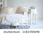 white sofa and nightstand with... | Shutterstock . vector #1181450698
