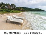 two empty  sunbeds on bai sao... | Shutterstock . vector #1181450962