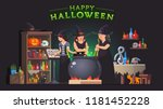 three witches stirring poison... | Shutterstock .eps vector #1181452228