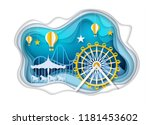 amusement park with ferris... | Shutterstock .eps vector #1181453602