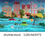 flood natural disaster in... | Shutterstock .eps vector #1181463472